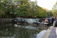 Canal boat stuck across Regents Canal