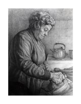 Mrs Chown in her kitchen