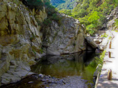 Mountain pass with rock pool